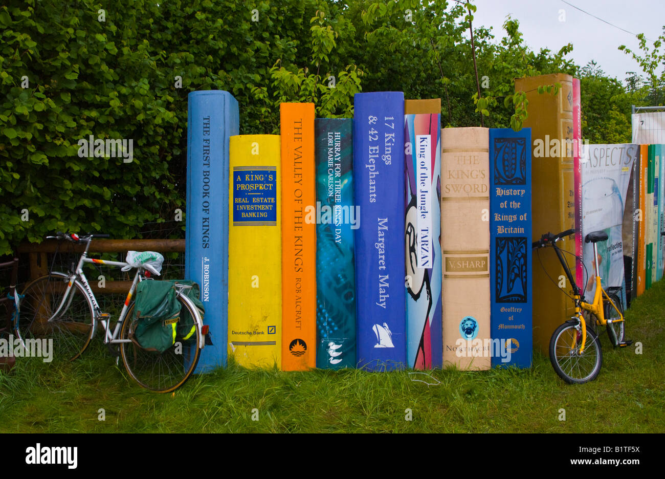 Large book display at entrance to The Guardian Hay Festival 2008 Hay on Wye Powys Wales UK EU with bikes resting - Stock Image
