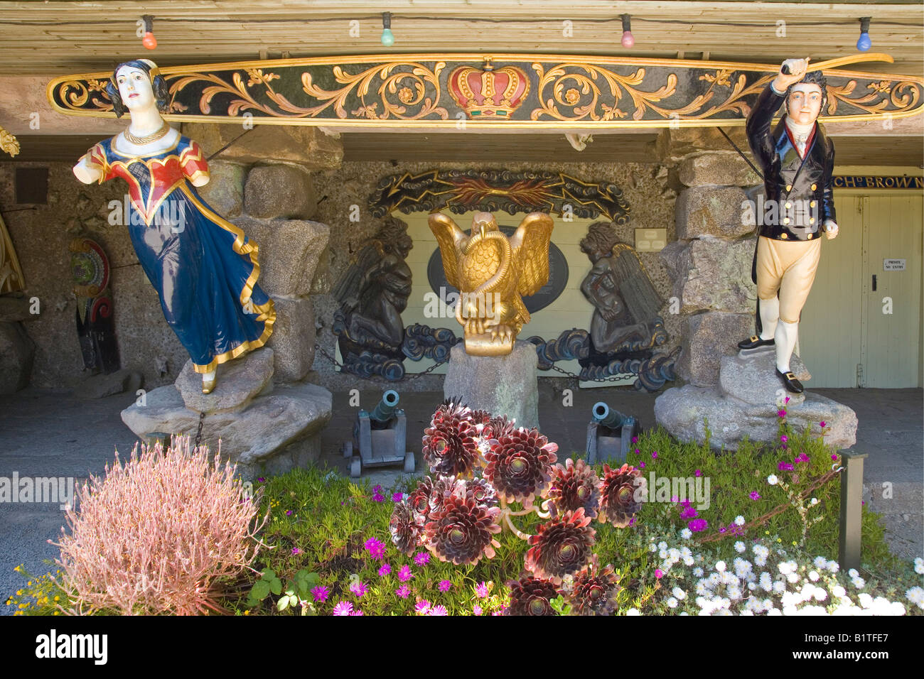 Figureheads from sailing vessels Valhalla Museum Abbey Gardens Tresco island Isles of Scilly Cornwall England GB - Stock Image