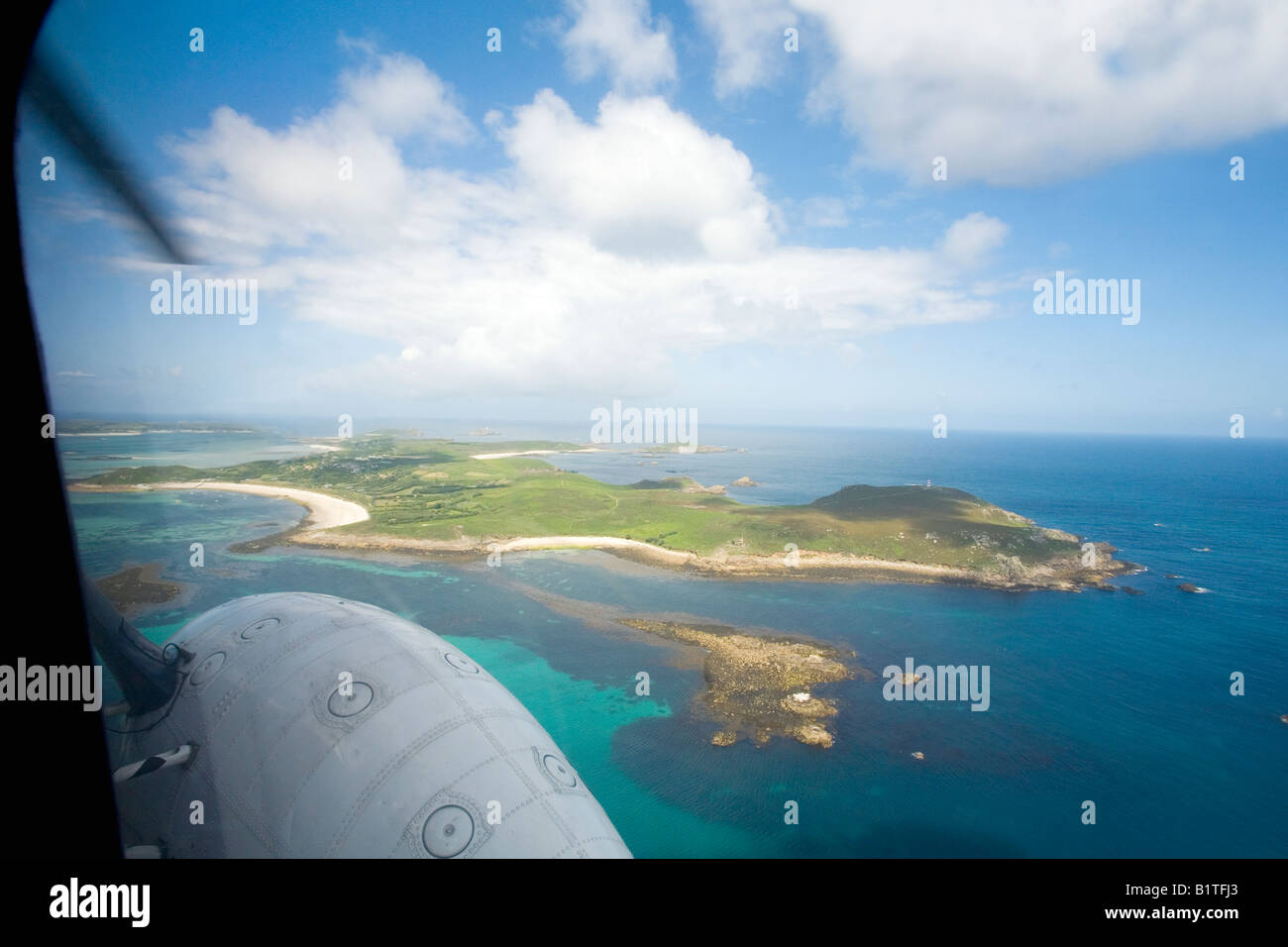 St Martins aerial view from helicopter Isles of Scilly Cornwall England GB Great Britain UK United Kingdom British - Stock Image
