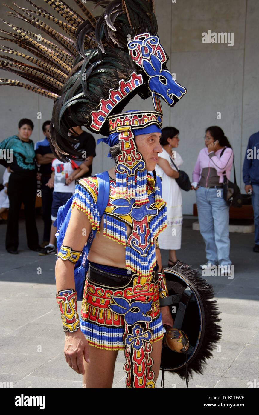 Mexican Man Dressed In Aztec Rabbit Costume At A Traditional Aztec B Tfwe on Aztec Dance Headdress