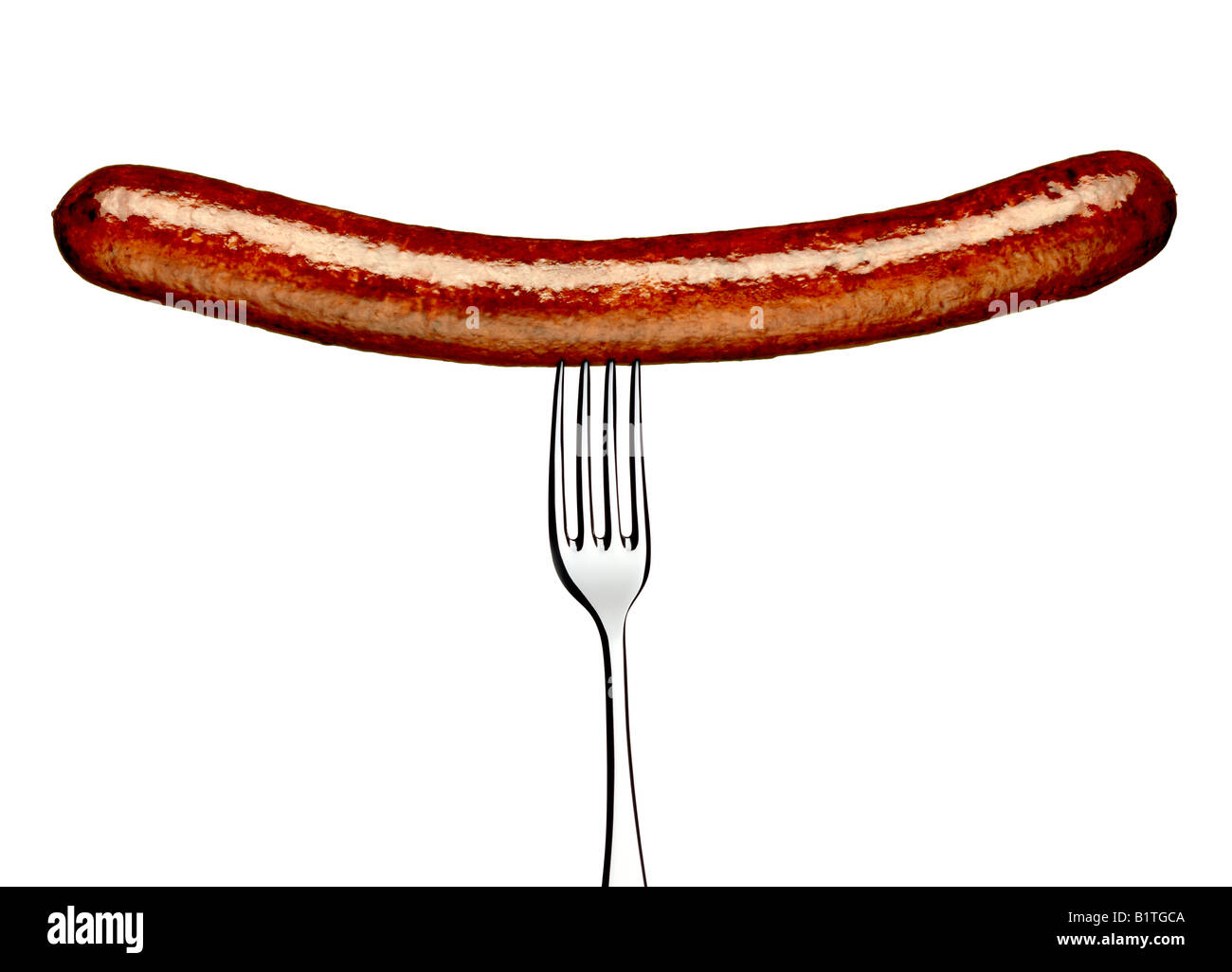 LONG PORK OR BEEF SAUSAGE ON A FORK - Stock Image