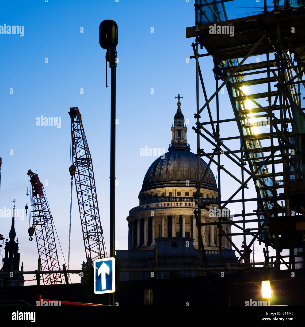 Night time London St Paul's construction - Stock Image