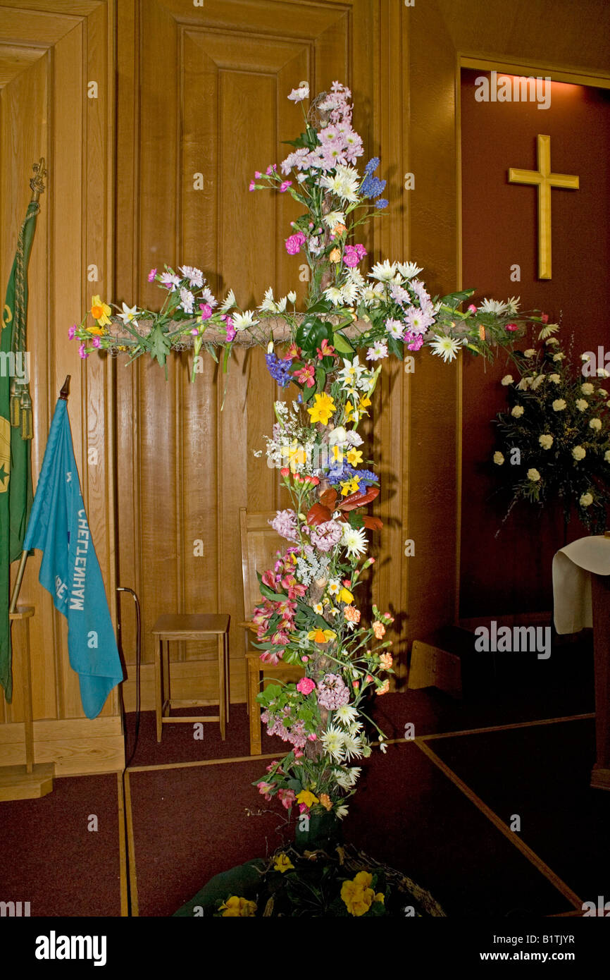 Cross Decorated With Flowers Stock Photos & Cross Decorated With ...