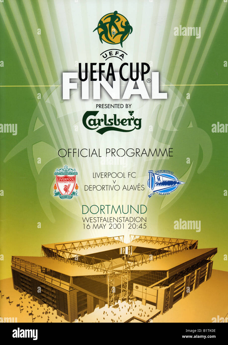 UEFA Cup Final Football Programme 16 May 2001 Liverpool FC v Deportivo Alavés FOR EDITORIAL USE ONLY - Stock Image