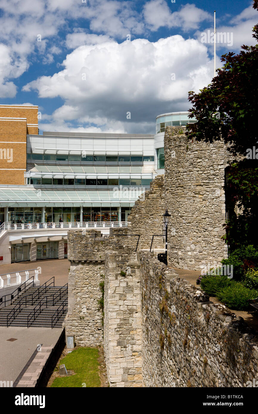 Medieval walls of Southampton and new West Quay shopping centre Southampton Hampshire England - Stock Image