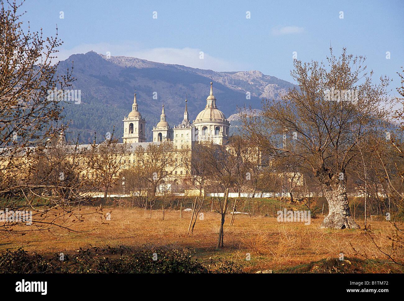 San Lorenzo de El Escorial monastery viewed from La Herreria. Madrid province. Spain. - Stock Image