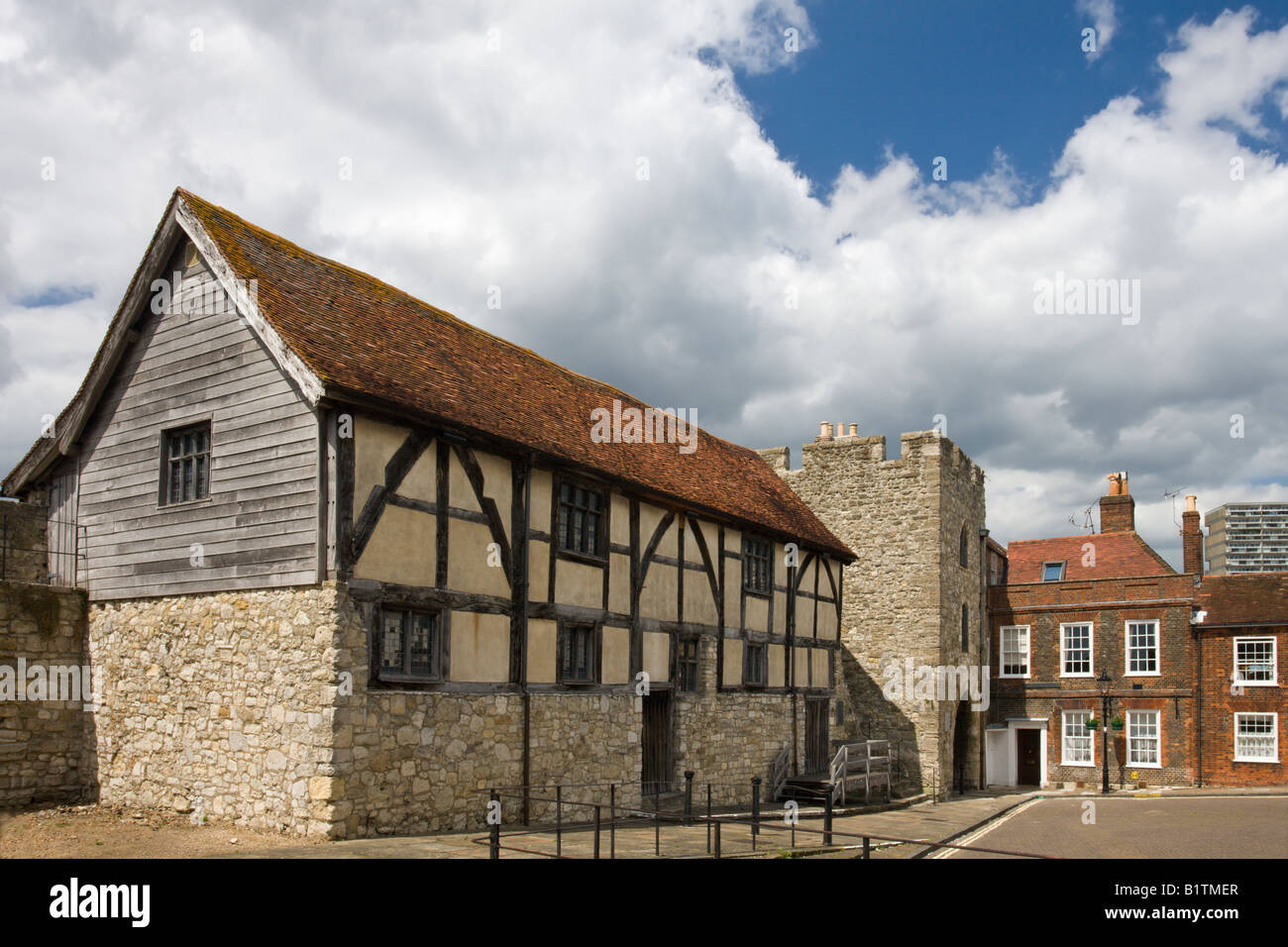 Tudor Merchants Hall and Westgate which make up part of the ancient walled city of Southampton Hampshire England - Stock Image