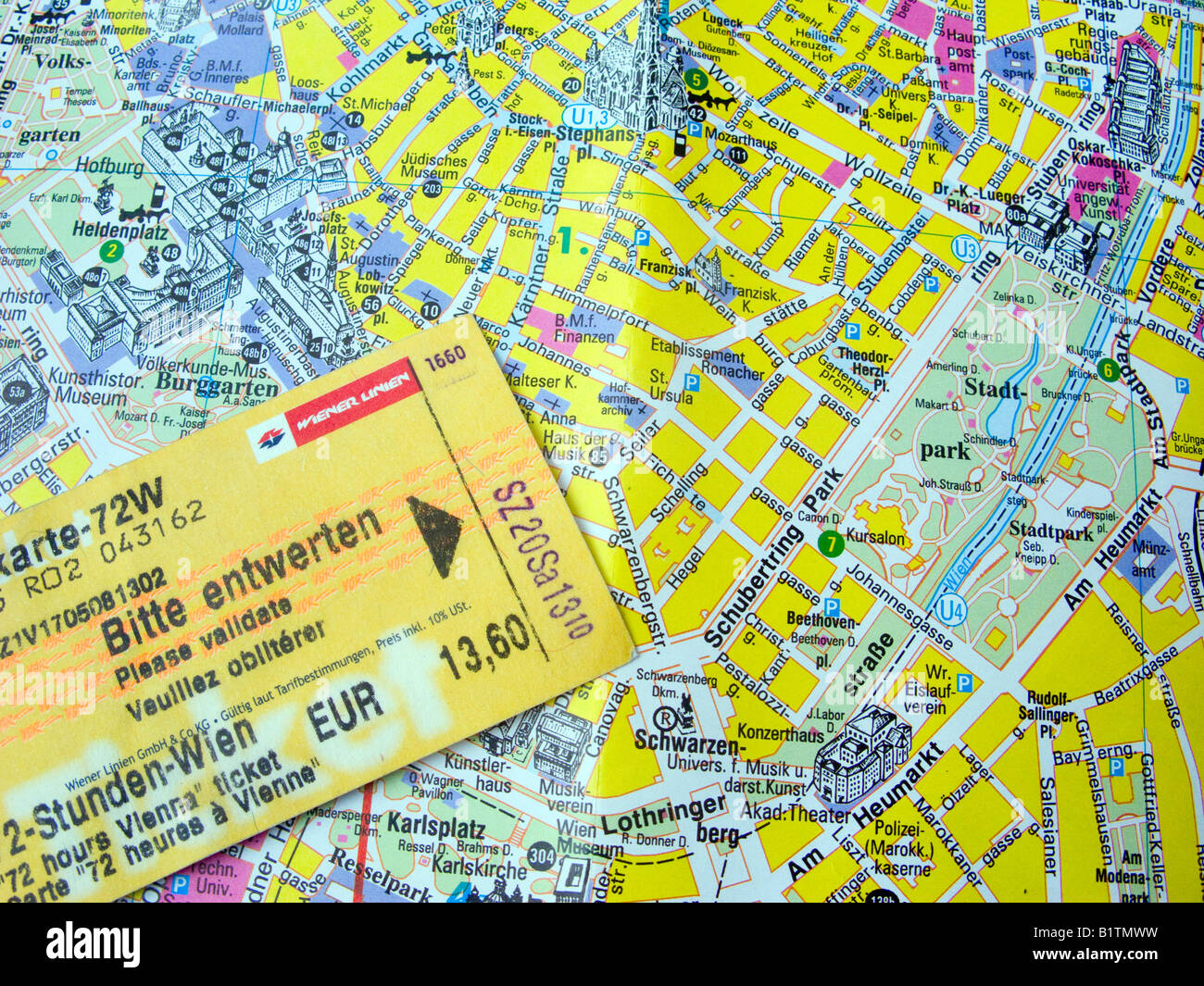 3 day usage U Bahn Metro ticket and map of central Vienna Austria Stock Photo