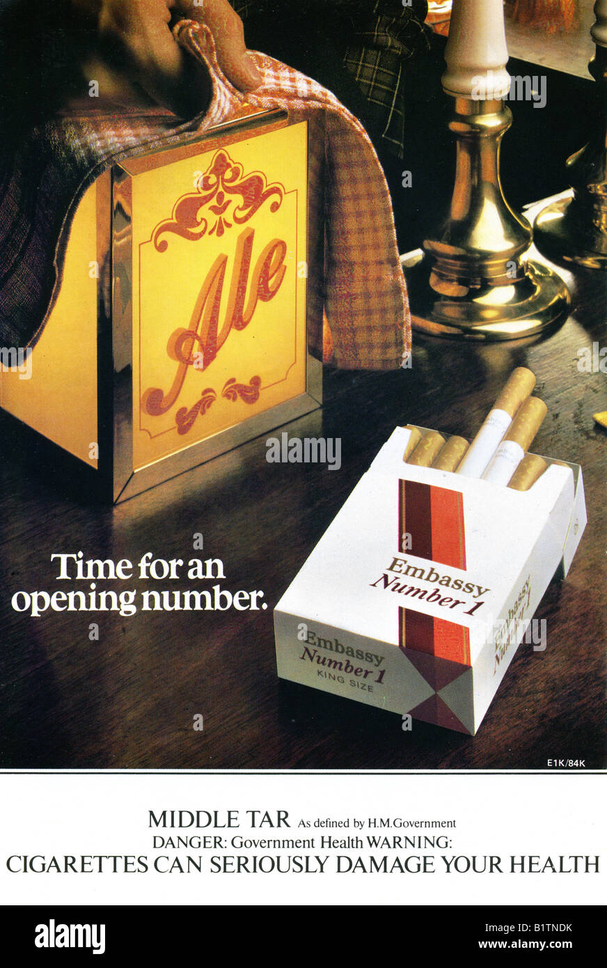 1983 Advertisement for Embassy Number 1 Cigarettes  FOR EDITORIAL USE ONLY Stock Photo