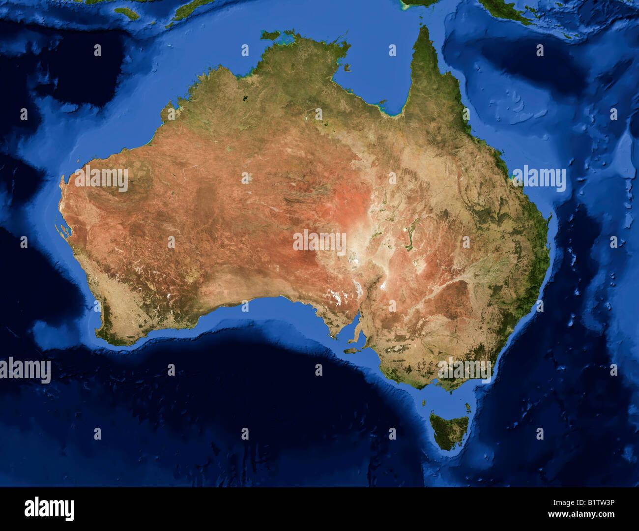 Australia Map Satellite.True Color Terra Modis Satellite Image Of Australia Rendered In