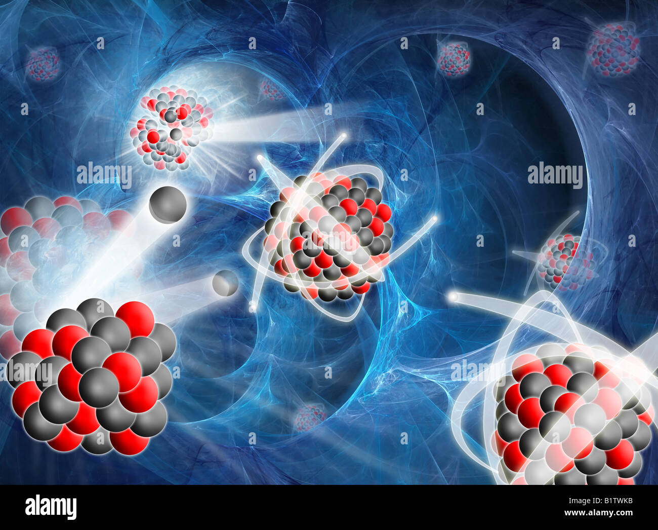 Conceptual image of nuclear fission, with atoms seen to break up from free neutrons and release vast amounts of Stock Photo