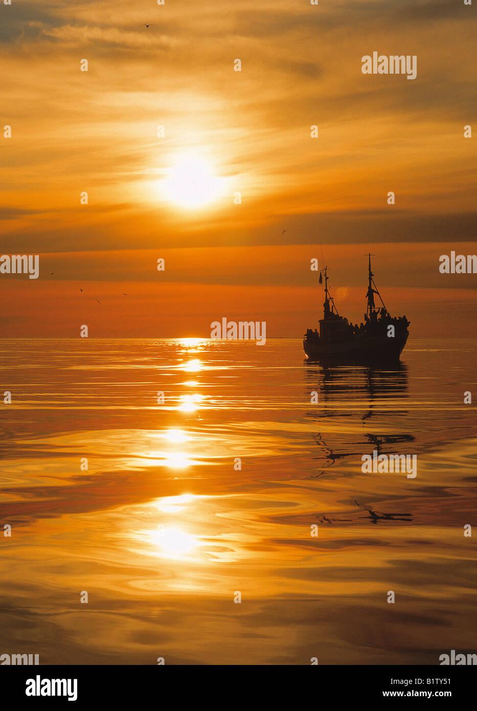 Fishing Trawler at Sunset, Husavik Iceland - Stock Image