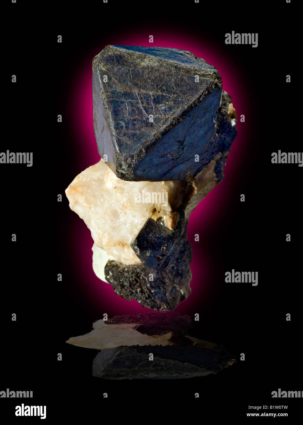 Franklinite on Calcite Franklin New Jersey - Stock Image