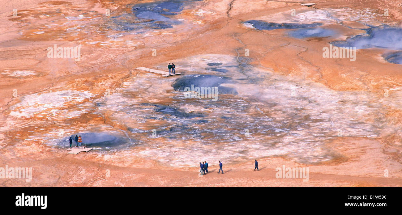 Tourists Visiting Leirhnjukur Geothermal Area - Stock Image
