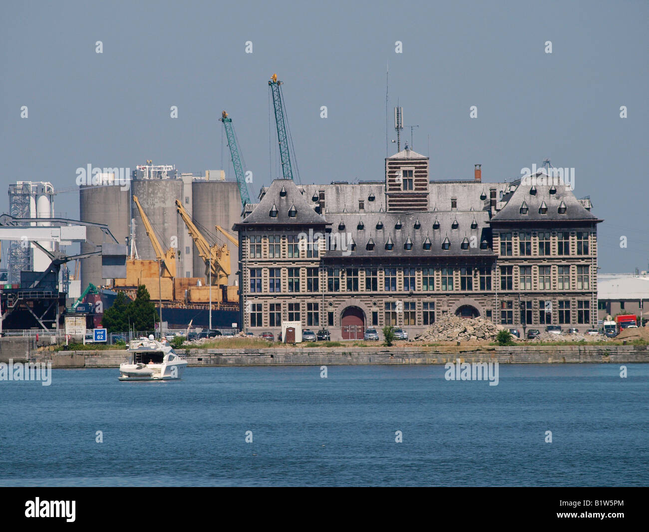 Antwerp port authority building in neo renaissance style north of the Kattendijkdok dock Antwerp Flanders Belgium - Stock Image