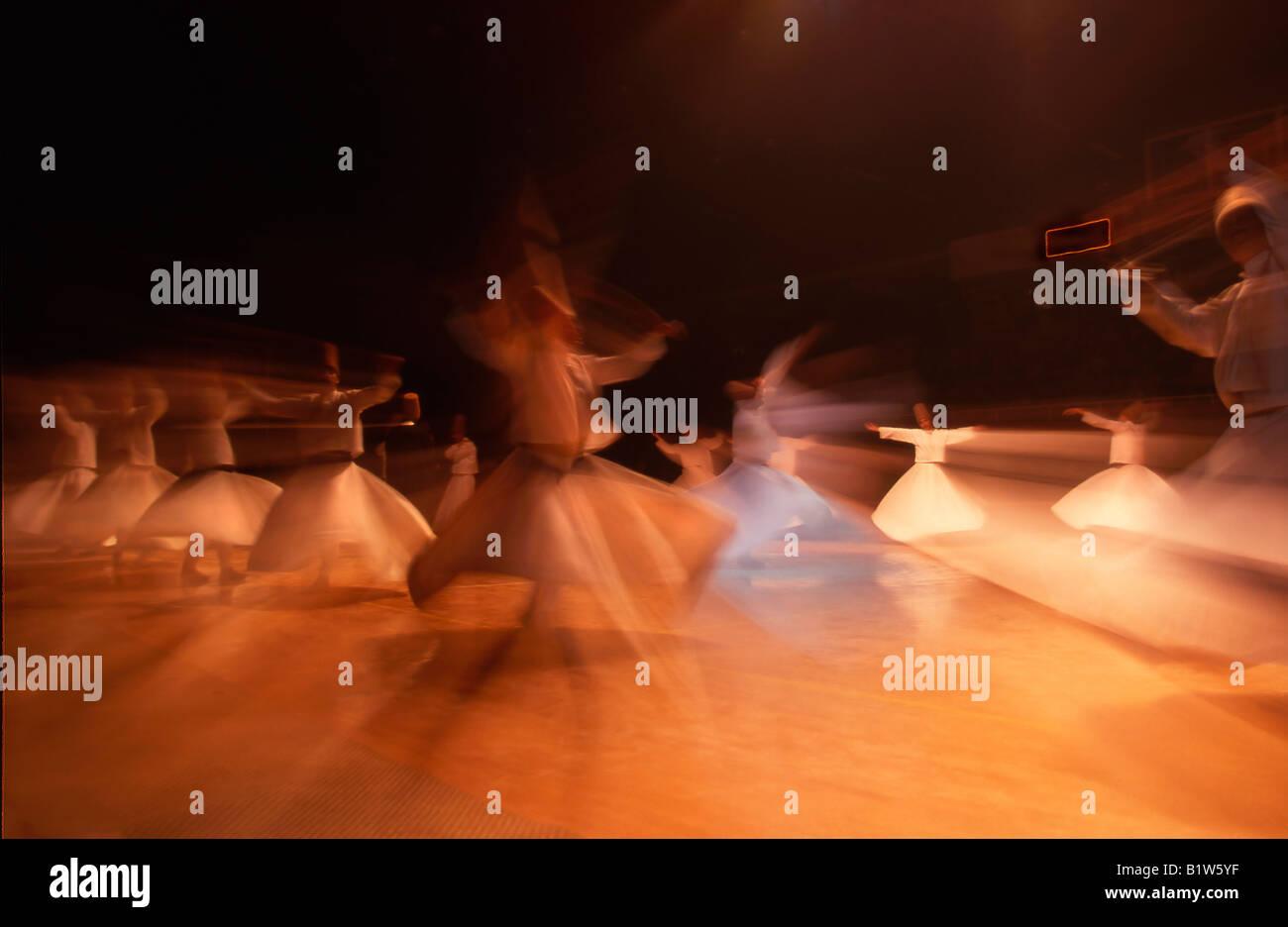 Turkey Istanbul Whirling Dervish dancers - Stock Image