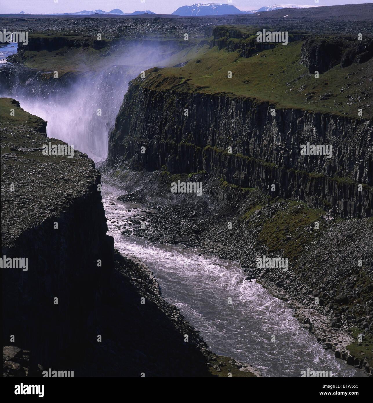 Dettifoss Waterfall and Jokulsargljufur Canyon, Iceland - Stock Image