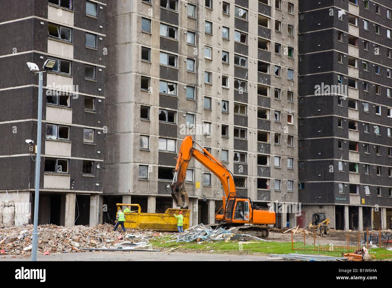Demolition of multistorey flats in Gorbals Glasgow Scotland Stock Photo