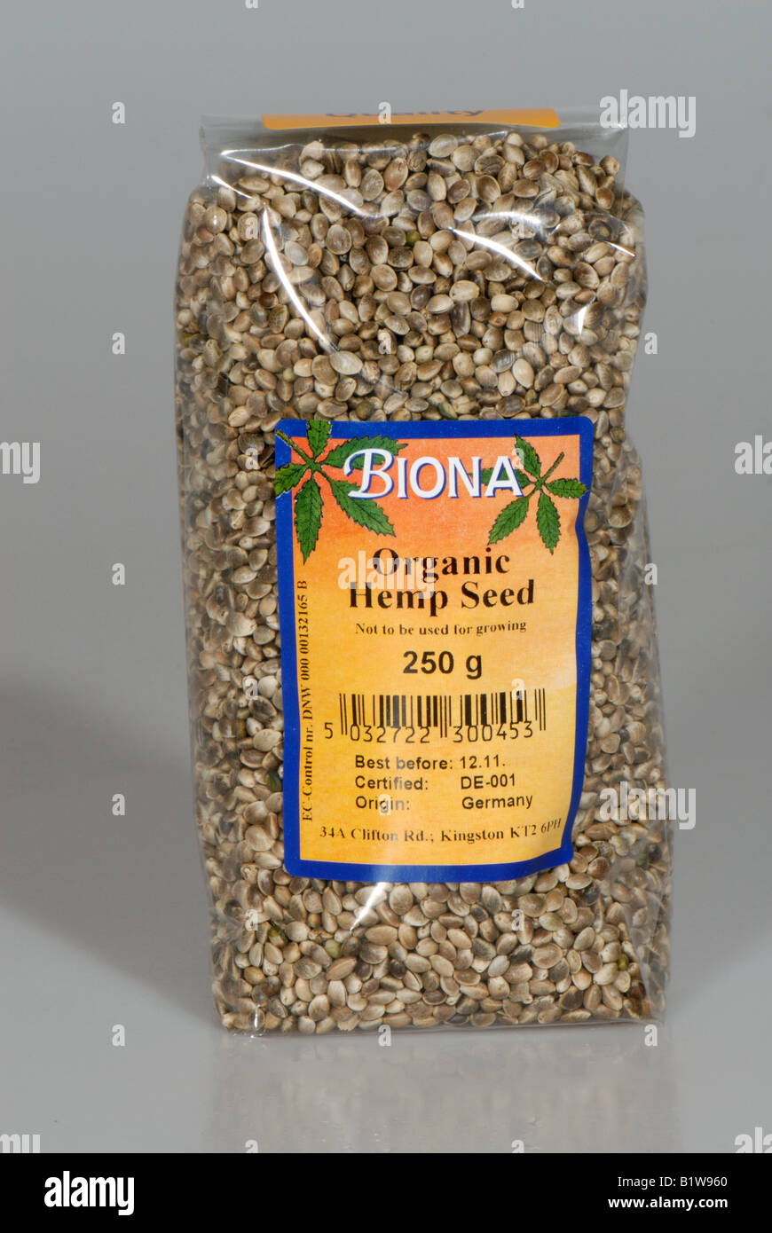 Packet of organic hemp seed Cannabis sativa kitchen igredient sold in health food shops - Stock Image