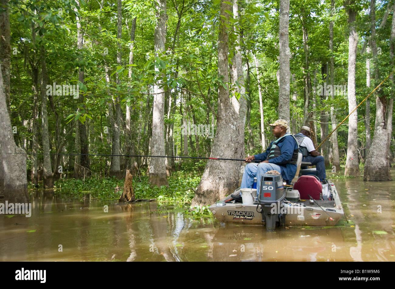 Fishermen, Honey Island Swamp, West Pearl River, Slidell, Saint Tammany Parish, Northshore, Louisiana. Stock Photo