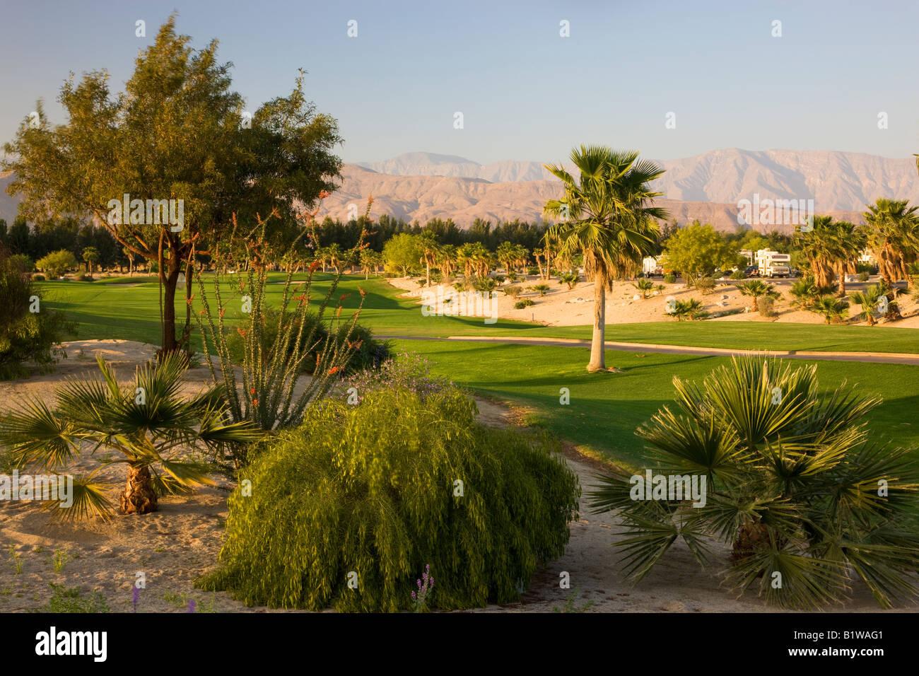 The Springs at Borrego RV Resort and Golf Anza Borrego Desert State Park Borrego Springs California - Stock Image