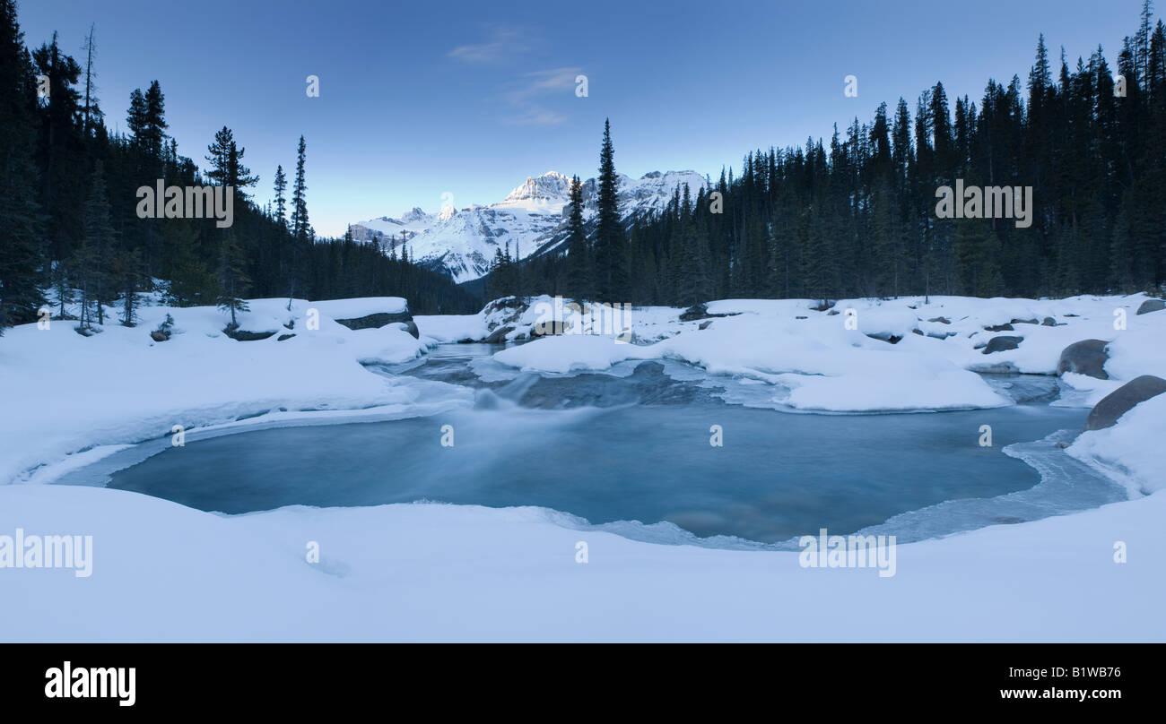 Canada Alberta Banff National Park Frozen river Mistaya Canyon Stock Photo