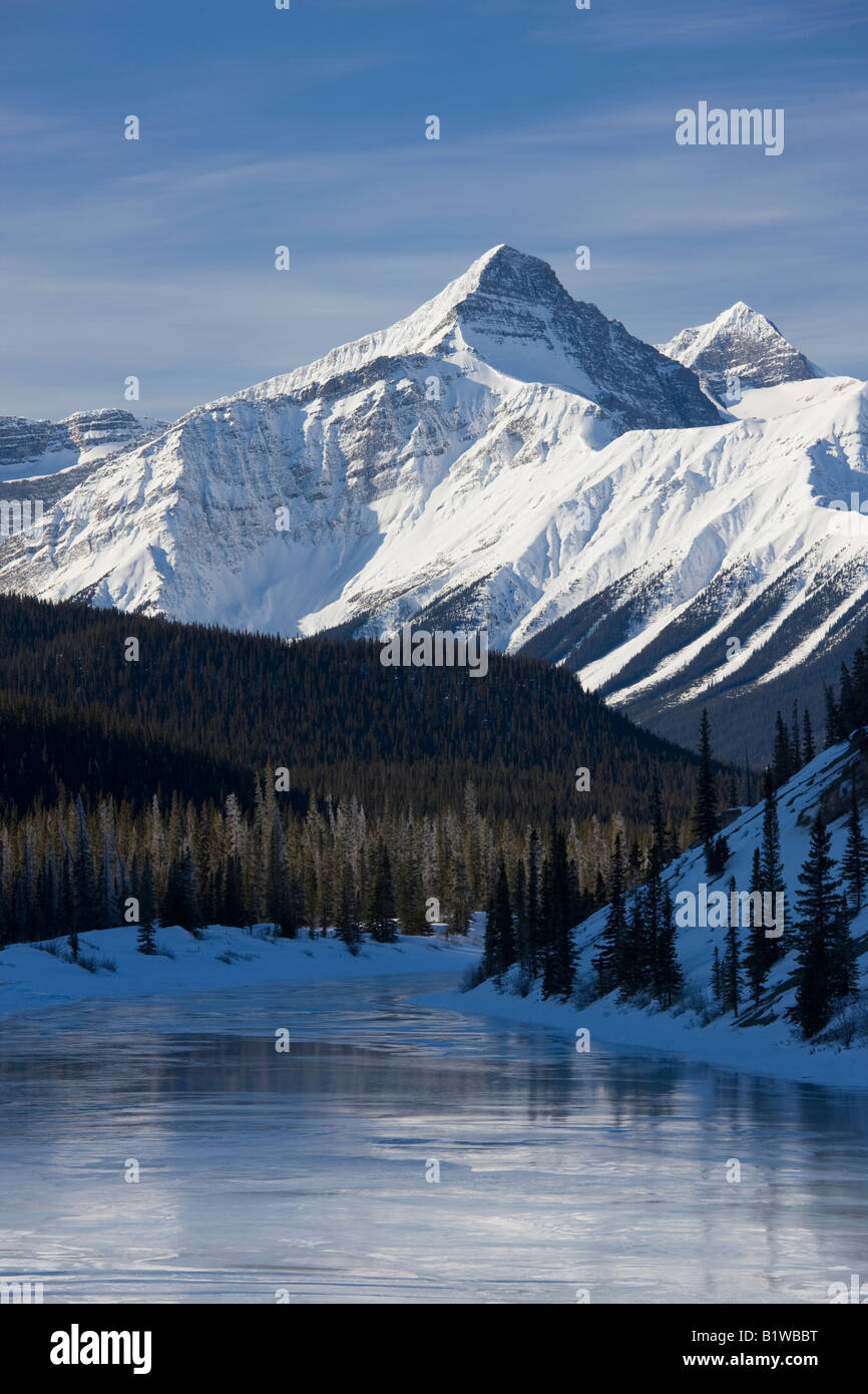 Canada Alberta Banff National Park Icefield Parkway Mountain veiwed over river - Stock Image