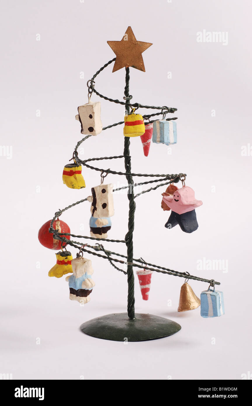 Modern Funky Christmas Tree Made From Metal With Ceramic Baubles