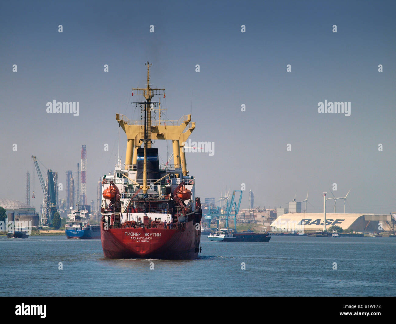 the port of Antwerp Belgium is a center of the chemical industry as well with companies like BASF and Bayer present - Stock Image