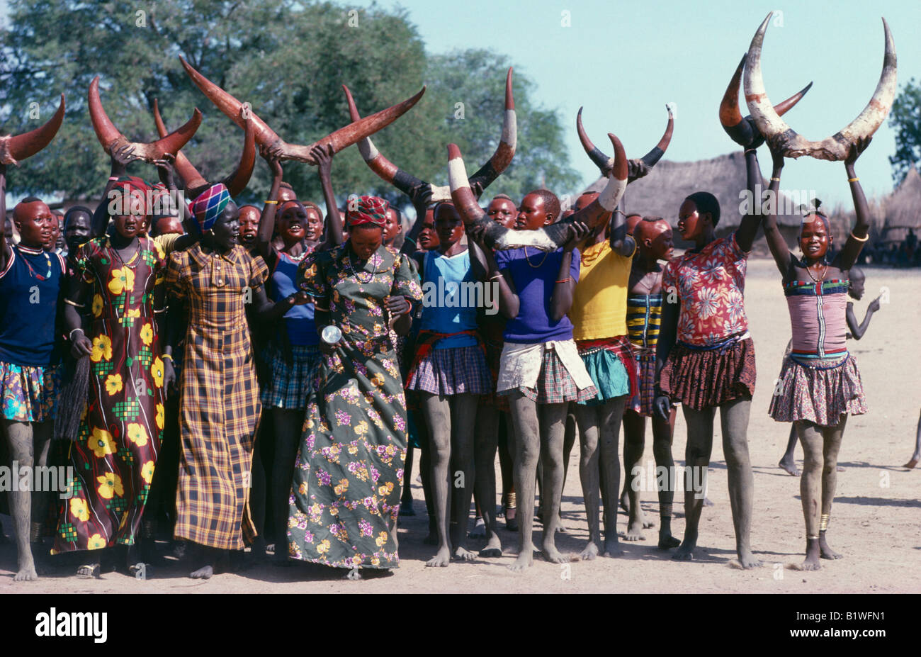 SUDAN North Africa Tribal Peoples Dinka cattle festival or Toich Women holding painted bulls horns in the air - Stock Image