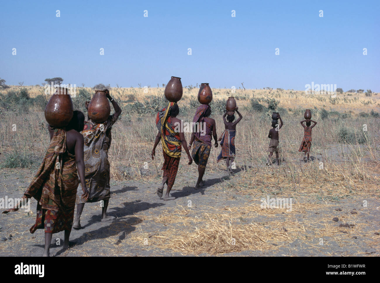 chad central africa kanimbo tribe women and children fetching water