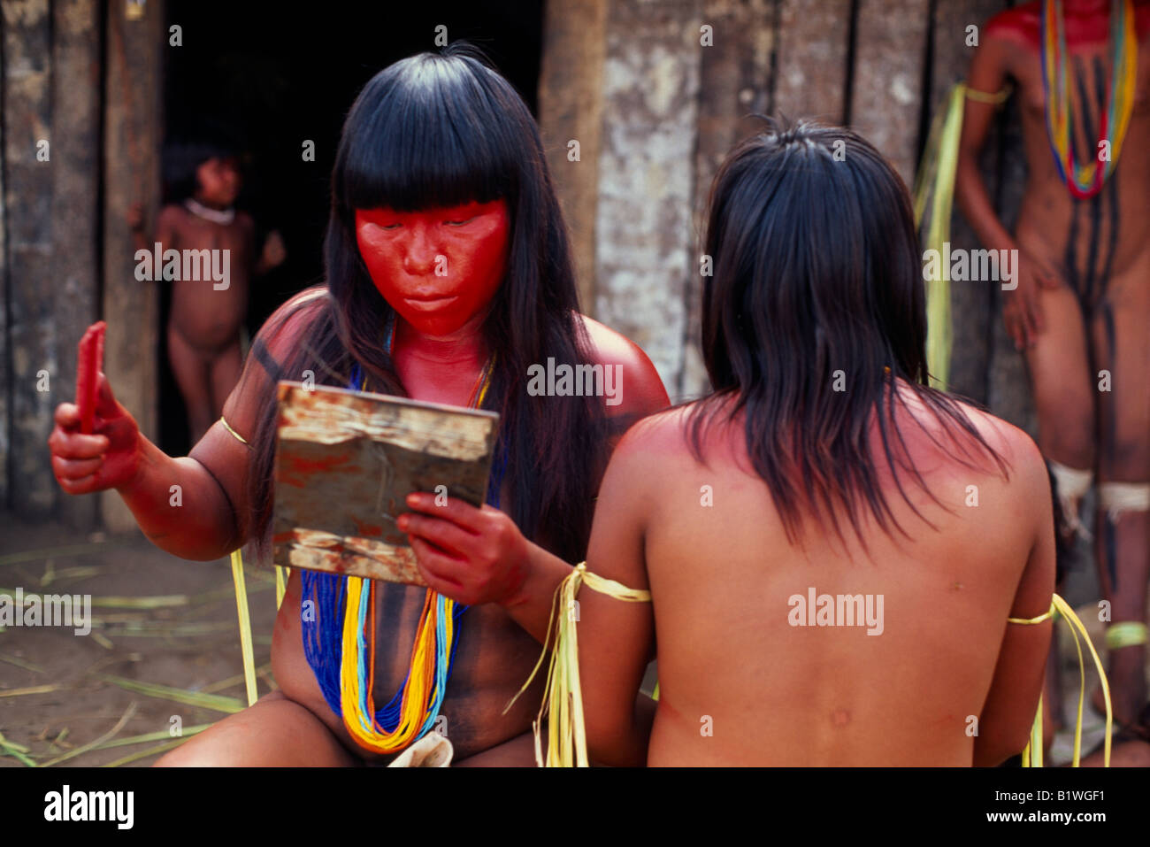 xingu women BRAZIL Mato Grosso Indigenous Park of the Xingu - Stock Image