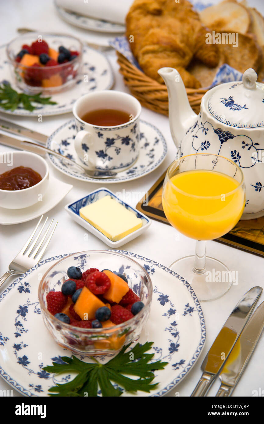 ENGLAND Food Meals Breakfast table setting of fresh mixed fruit ...