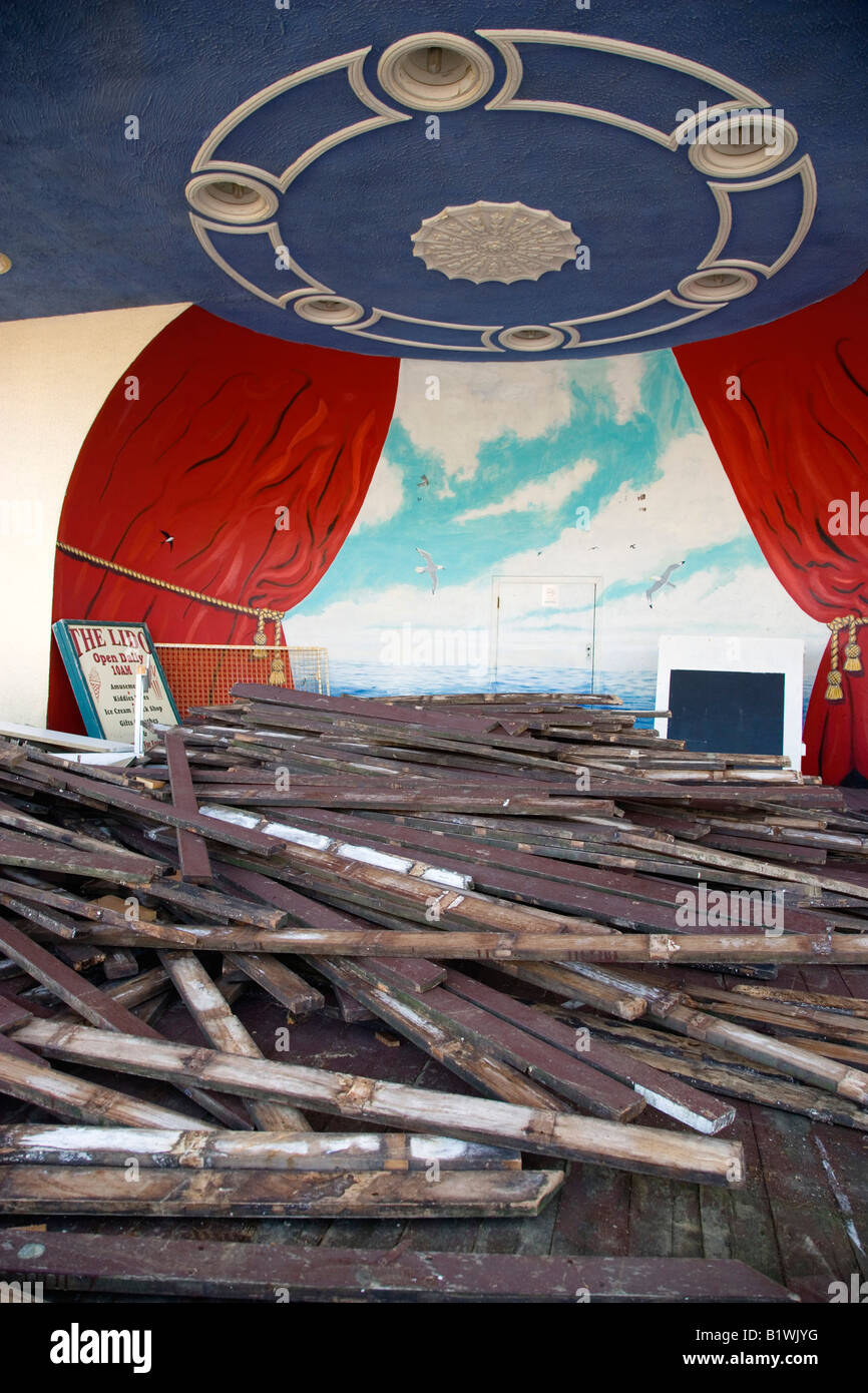 ENGLAND West Sussex Worthing Bandstand with old decking on stage day timber from ship sunk in English Channel washed - Stock Image