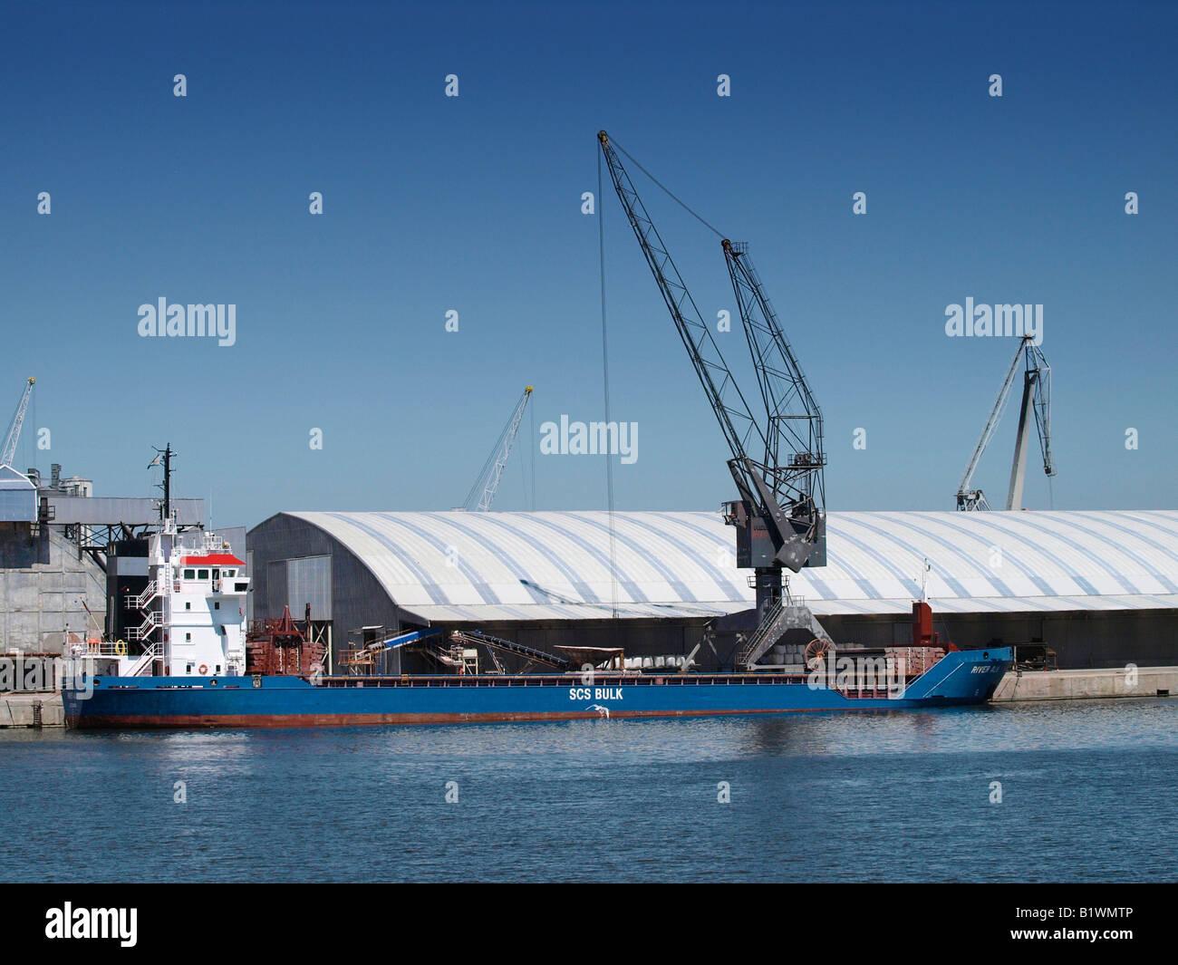 Bulk carrier ship in the port of Antwerp Flanders Belgium - Stock Image