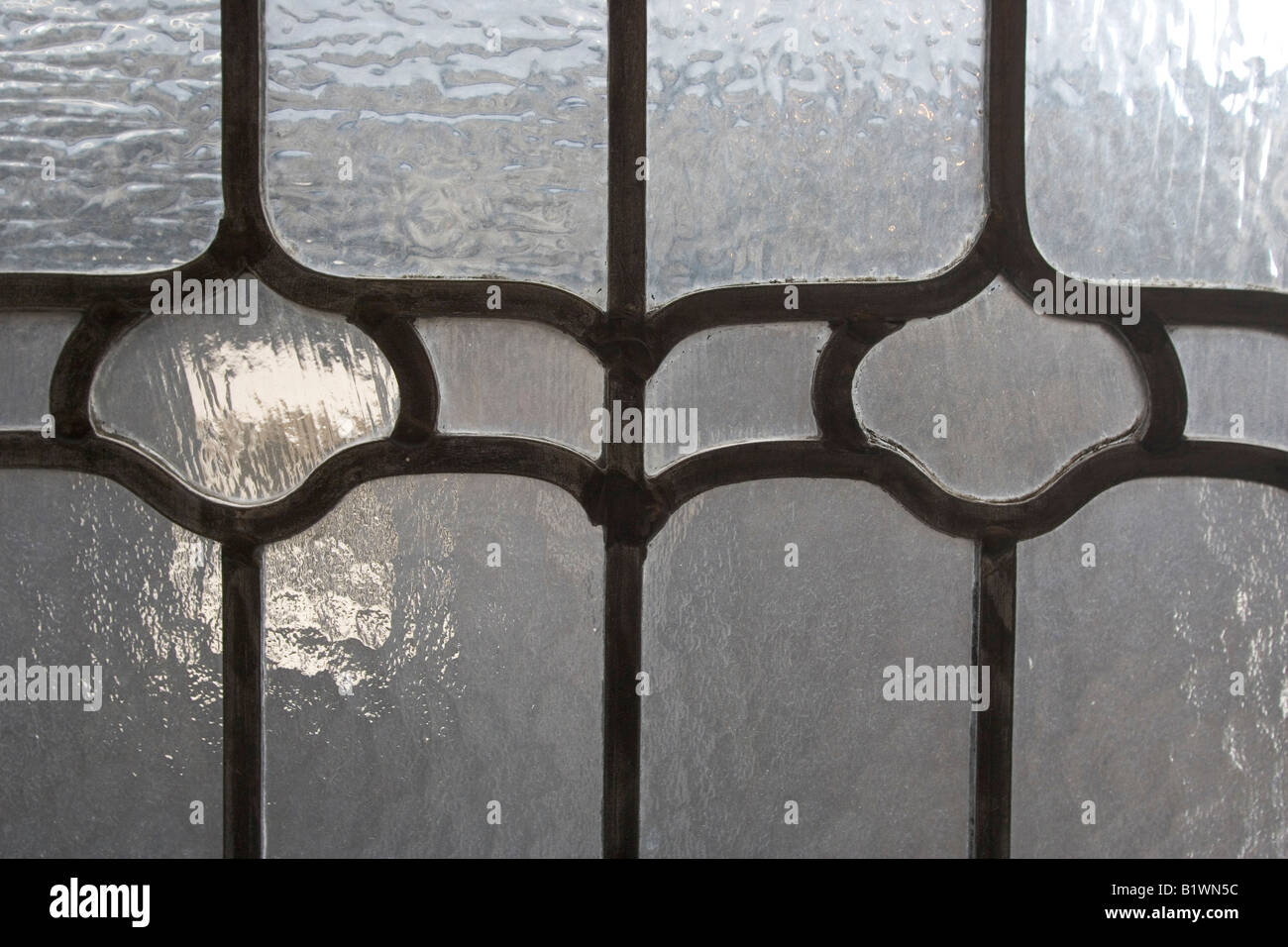 A detail of lead came on newly installed windows. - Stock Image