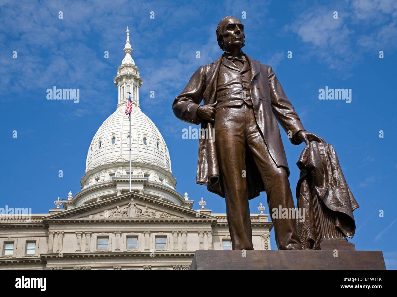 Statue of Austin Blair at Michigan State Capitol - Stock Image
