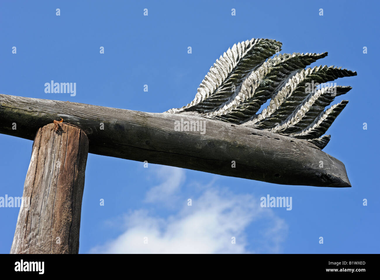 'Wind Thrust' (detail), 1996. Outdoor sculpture by Jony Easterby. Grizedale Forest Park, Lake District National - Stock Image