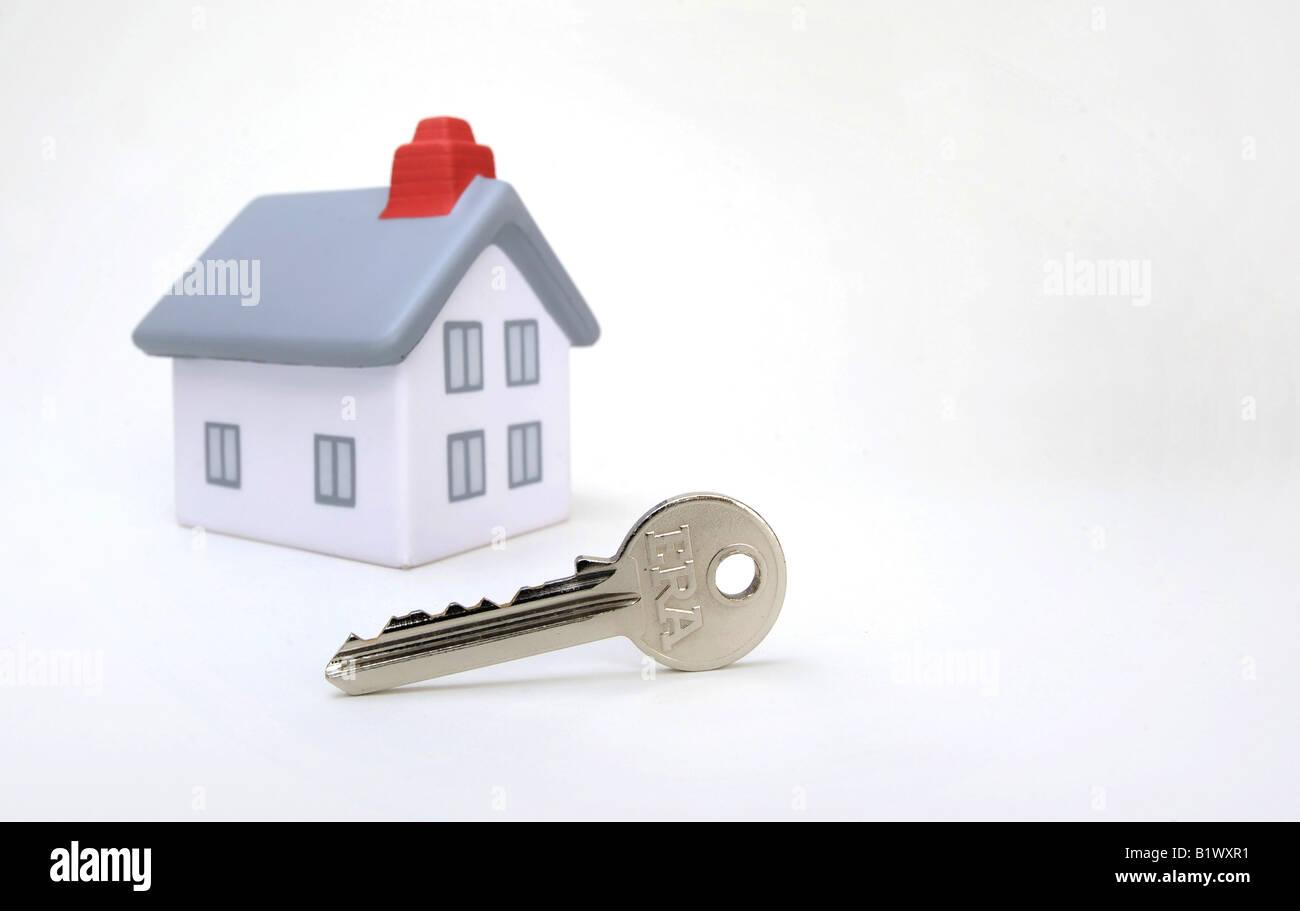 MODEL HOUSE WITH  FRONT DOOR KEY,UK,BRITISH. - Stock Image