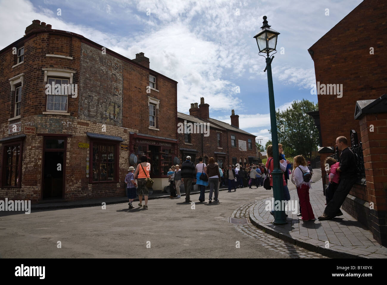 Village street with reconstructed buildings at the Black Country Living Museum, Dudley, West Midlands, England - Stock Image