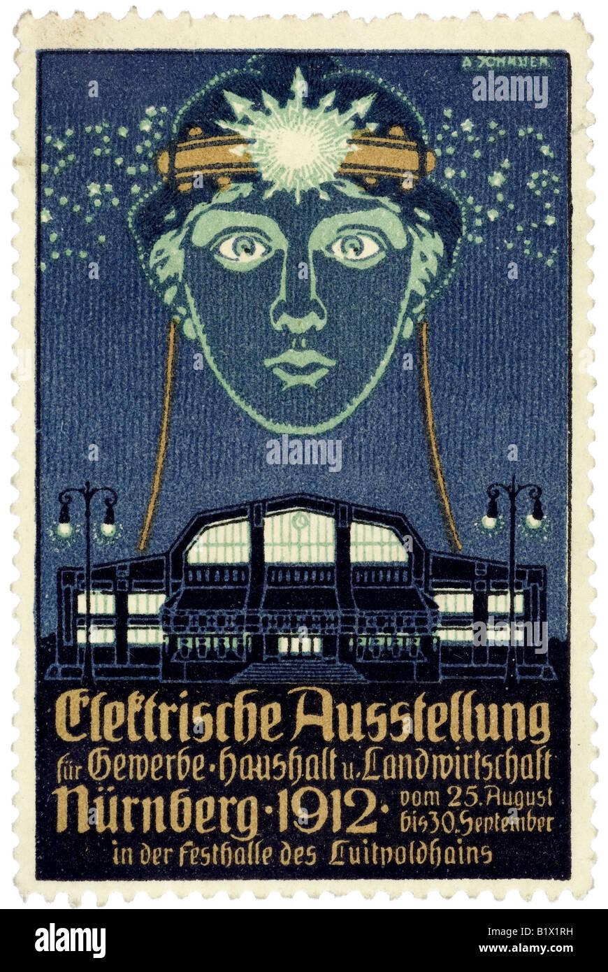 Elektrische Ausstellung für Gewerbe, Haushalt und Lanswirtschaft, Nürnberg 1912, vom 25 August bis 30. September, Stock Photo