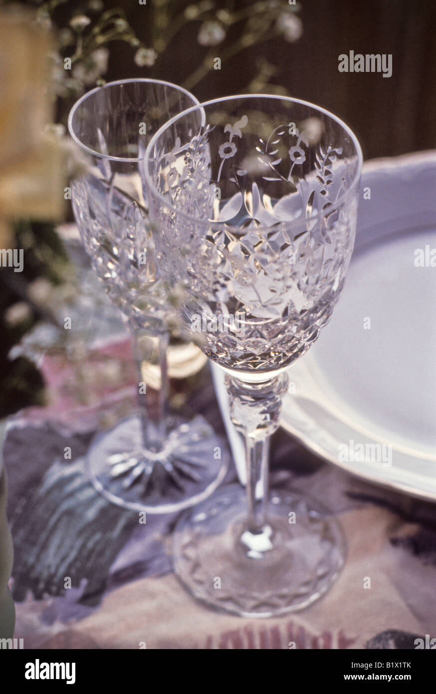 crystal wine goblet water glass on formal table setting & crystal wine goblet water glass on formal table setting Stock Photo ...