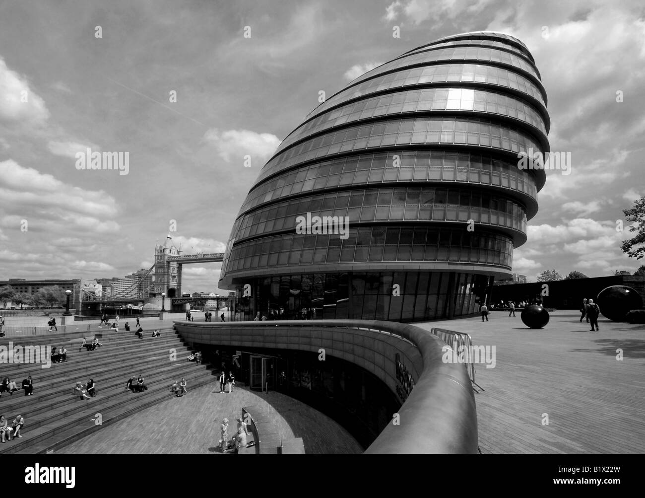 London City Hall in black and white in landscape (portrait version available) - Stock Image