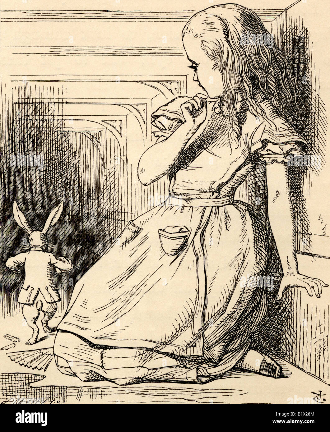 The White Rabbit is late from Alice's Adventures in Wonderland - Stock Image
