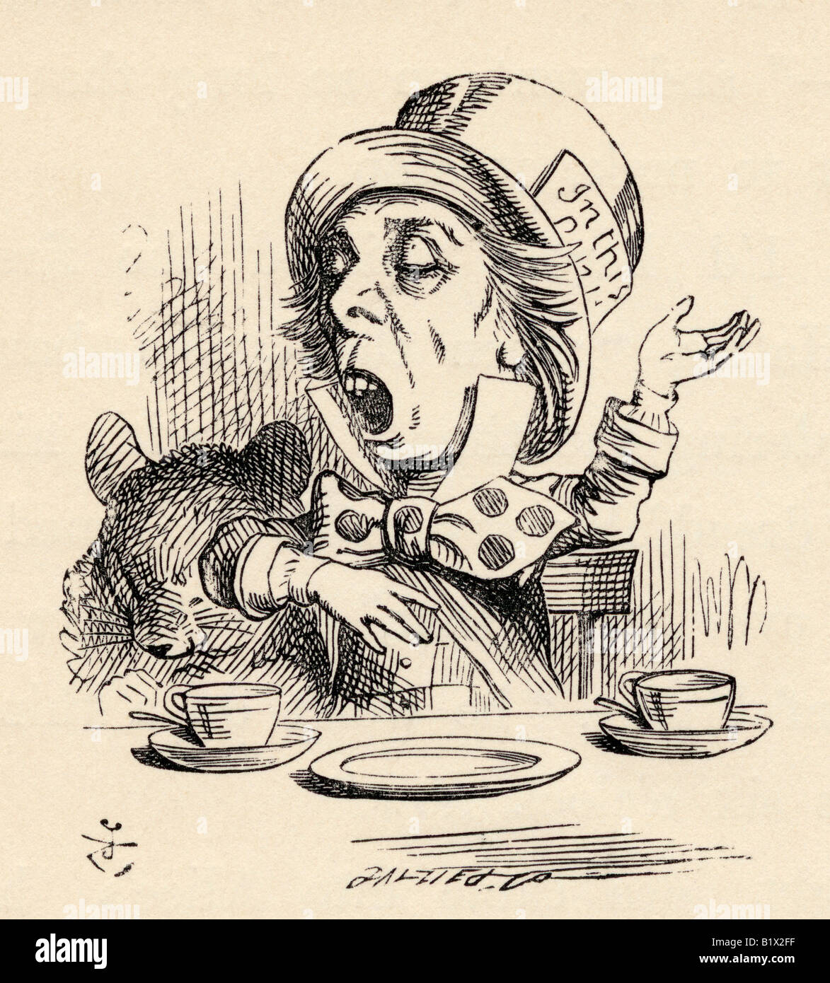 The Mad Hatter reciting his nonsense poem Twinkle Twinkle Little Bat - Stock Image