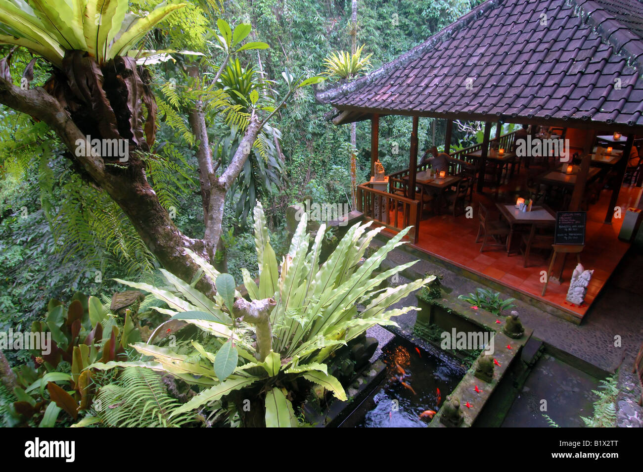 Lush Tropical Surrounds Of Murni S Warung Restaurant In Ubud Bali Stock Photo Alamy