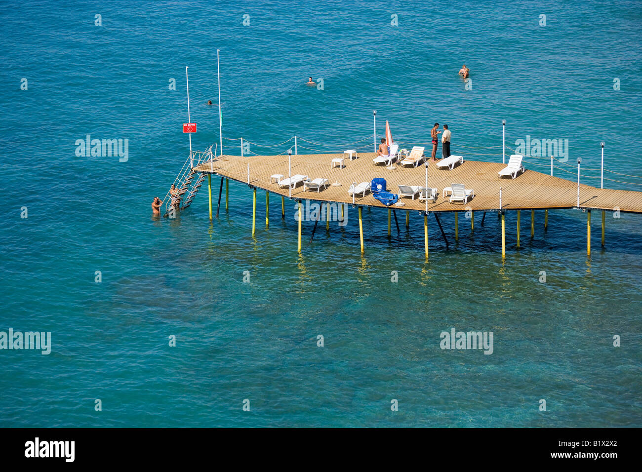 Aerial view of beach in Alanya Antalya Turkey Stock Photo