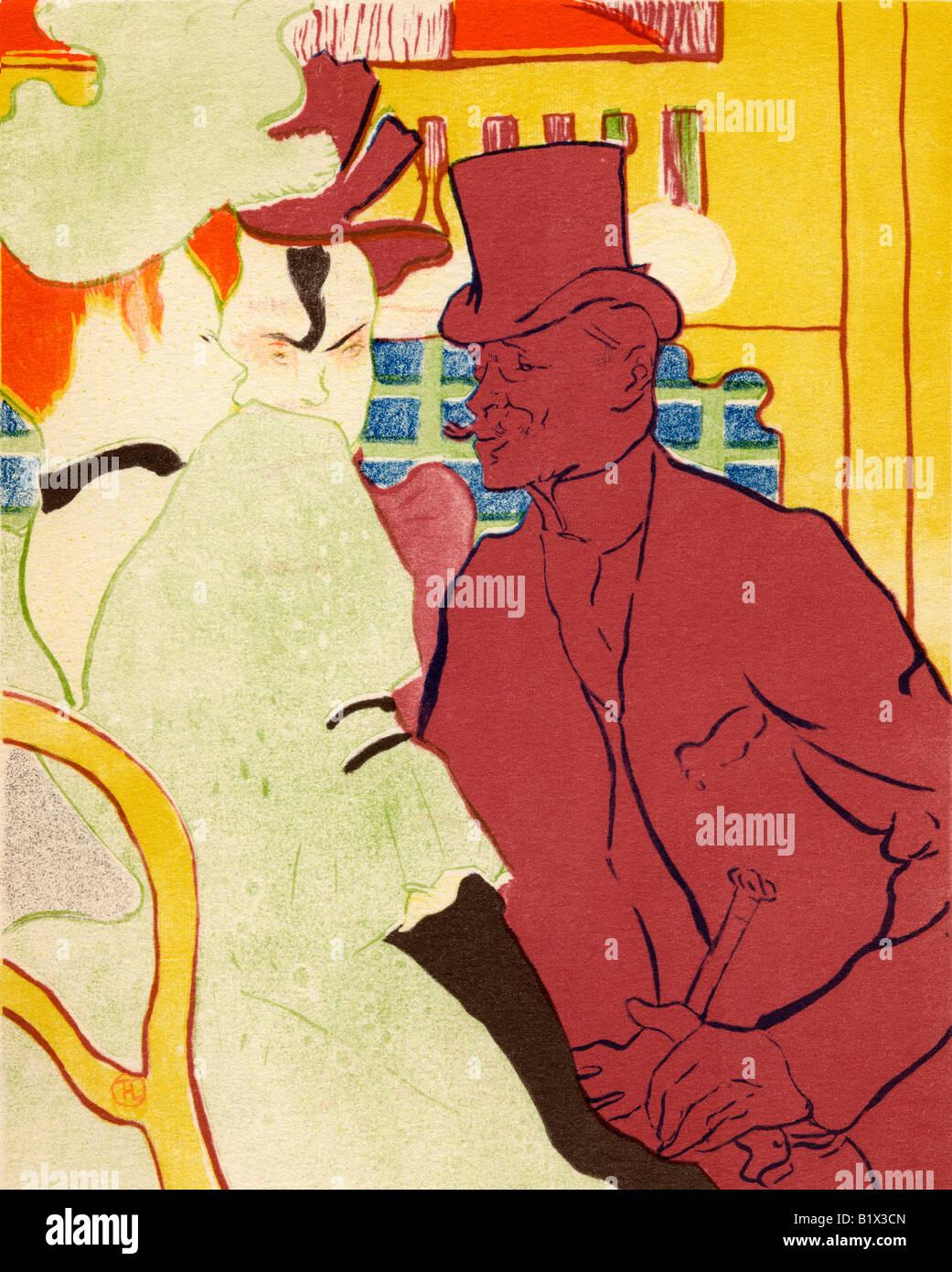 L Anglais Au Moulin Rouge 1892 Coloured Lithograph by Henri Marie Raymond de Toulouse Lautrec Monfa 1864 1901 - Stock Image