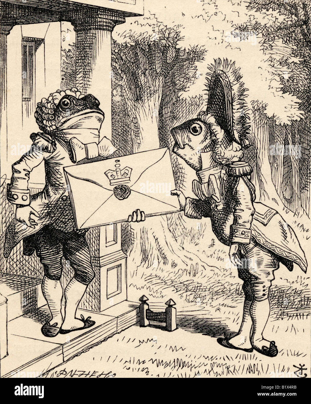 Fish Footman Illustration by John Tenniel from the book Alices s Adventures in Wonderland by Lewis Carroll published Stock Photo