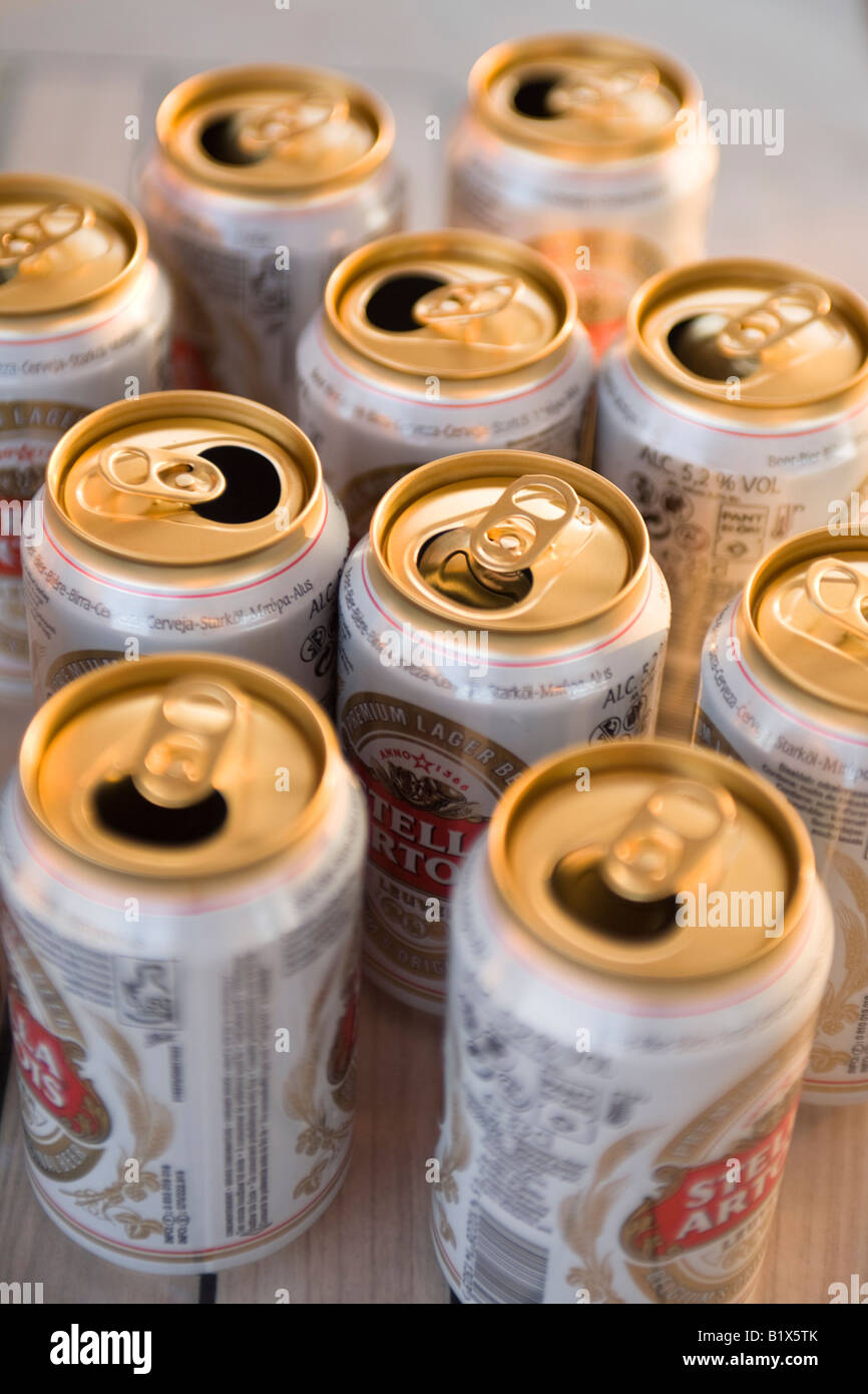 Empty beer cans - Stock Image